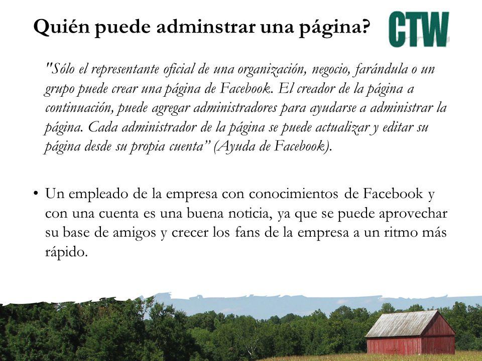 Crear una página Si no has iniciado sesión o no tienes una cuenta, tienes que ir a www.facebook.com y seleccionar Crear Página