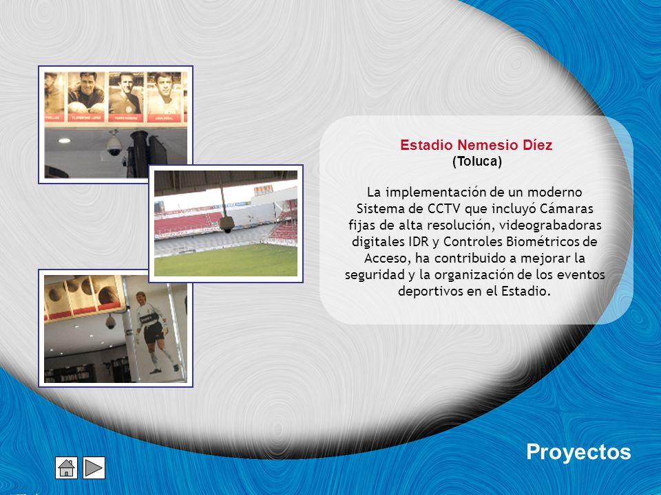 Estadio Nemesio Díez (Toluca) La implementación de un moderno Sistema de CCTV que incluyó Cámaras fijas de alta resolución, videograbadoras digitales IDR y Controles Biométricos de Acceso, ha contribuido a mejorar la seguridad y la organización de los eventos deportivos en el Estadio.