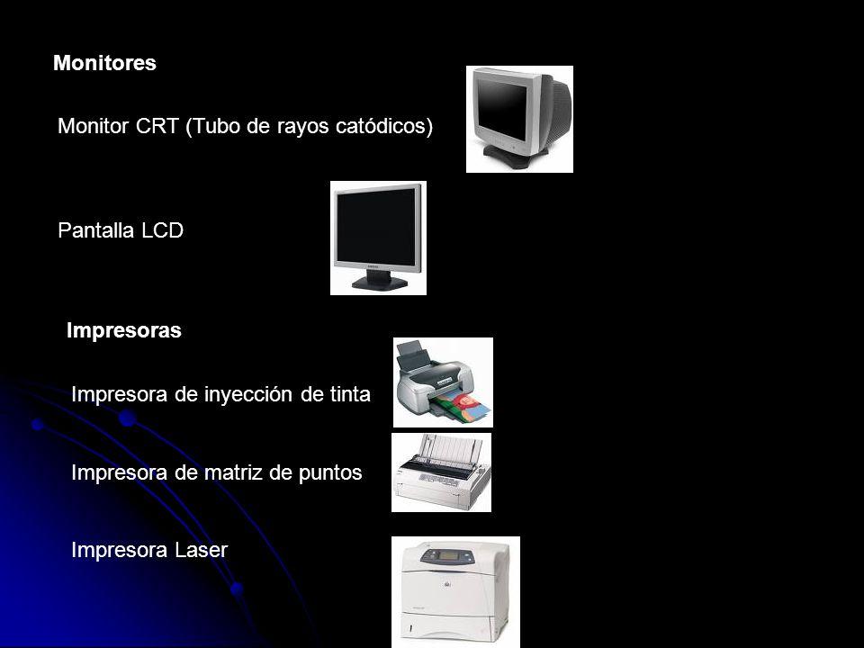 Monitores Monitor CRT (Tubo de rayos catódicos) Pantalla LCD Impresoras Impresora de inyección de tinta Impresora de matriz de puntos Impresora Laser