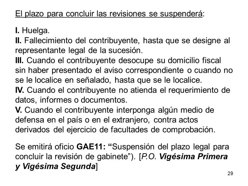29 El plazo para concluir las revisiones se suspenderá: I. Huelga. II. Fallecimiento del contribuyente, hasta que se designe al representante legal de