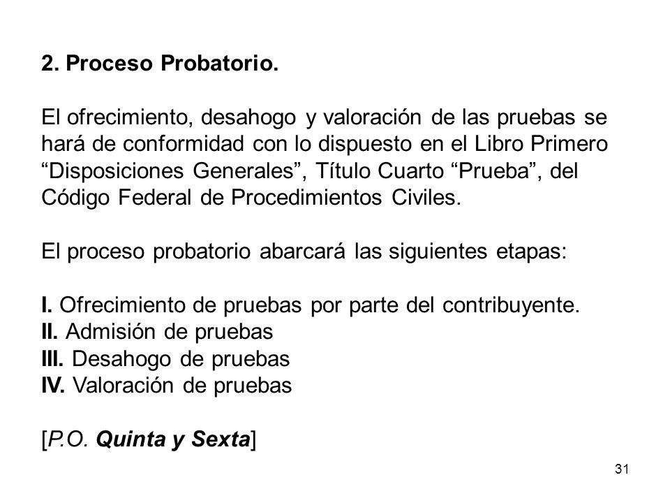 31 2. Proceso Probatorio. El ofrecimiento, desahogo y valoración de las pruebas se hará de conformidad con lo dispuesto en el Libro Primero Disposicio