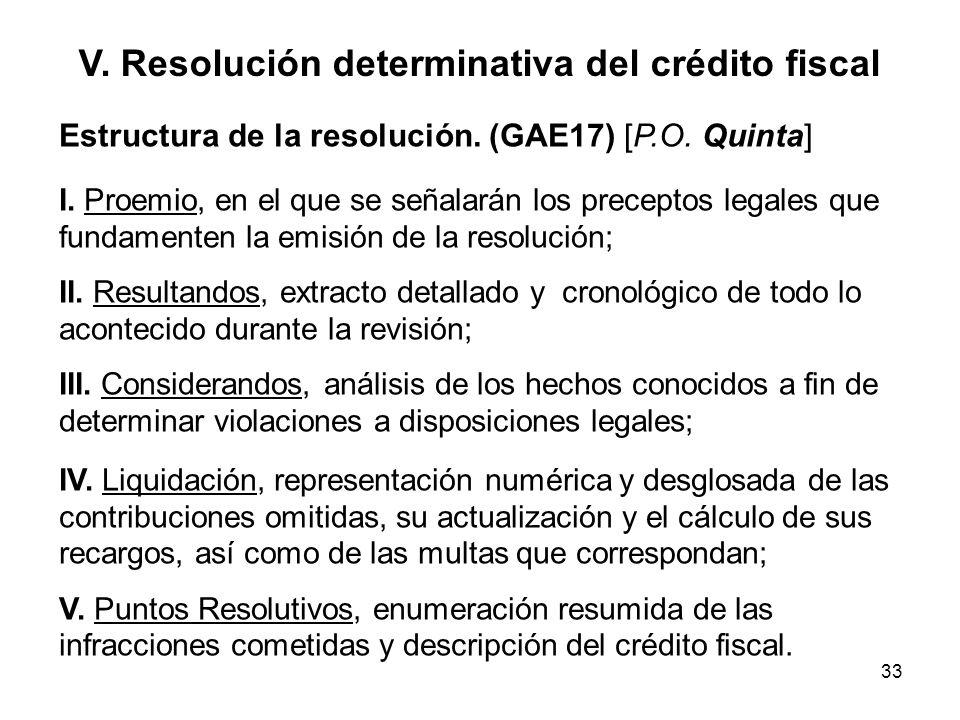 33 V. Resolución determinativa del crédito fiscal Estructura de la resolución. (GAE17) [P.O. Quinta] I. Proemio, en el que se señalarán los preceptos