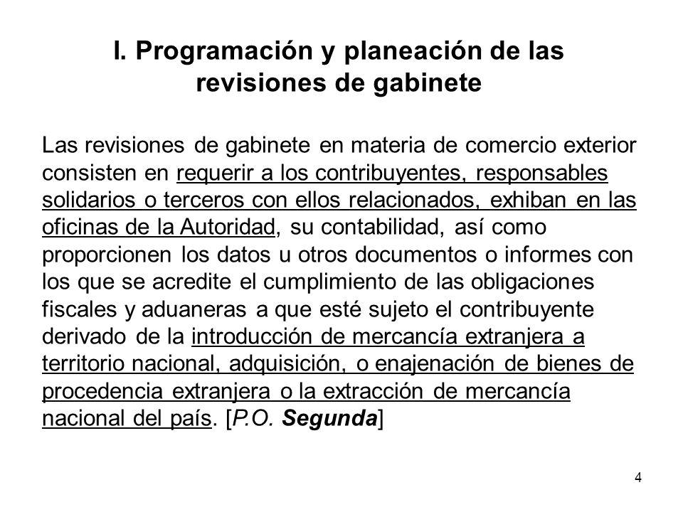 4 I. Programación y planeación de las revisiones de gabinete Las revisiones de gabinete en materia de comercio exterior consisten en requerir a los co