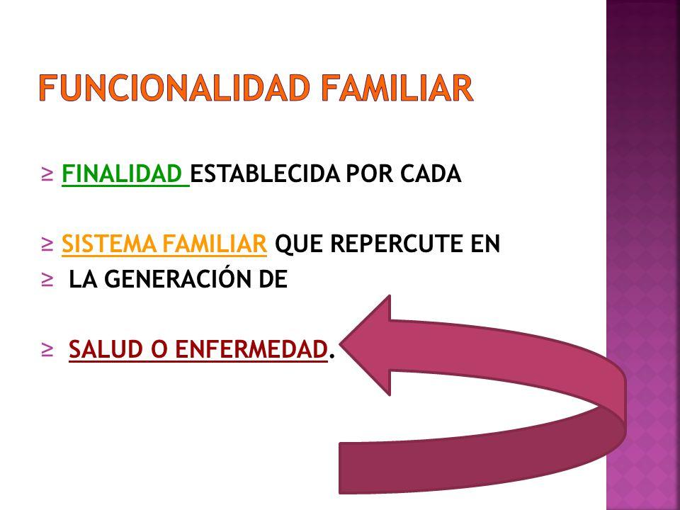 FINALIDAD ESTABLECIDA POR CADA SISTEMA FAMILIAR QUE REPERCUTE EN LA GENERACIÓN DE SALUD O ENFERMEDAD.