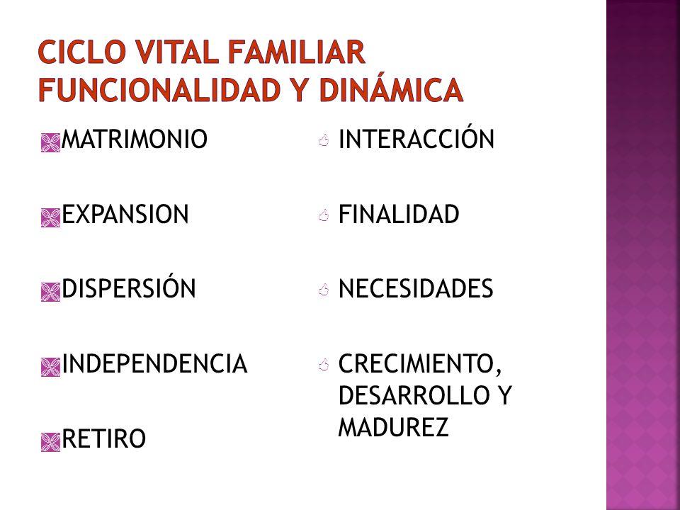 MATRIMONIO EXPANSION DISPERSIÓN INDEPENDENCIA RETIRO INTERACCIÓN FINALIDAD NECESIDADES CRECIMIENTO, DESARROLLO Y MADUREZ