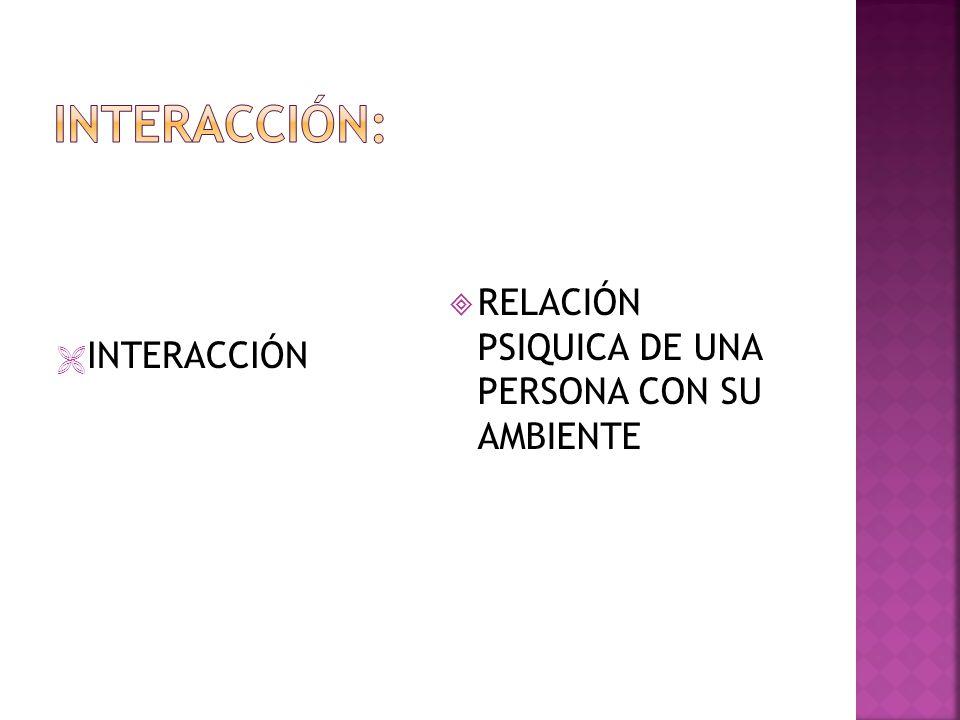 INTERACCIÓN RELACIÓN PSIQUICA DE UNA PERSONA CON SU AMBIENTE