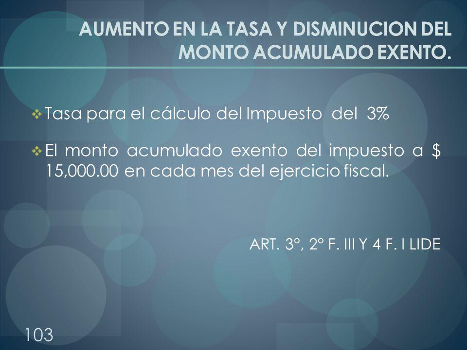 AUMENTO EN LA TASA Y DISMINUCION DEL MONTO ACUMULADO EXENTO. Tasa para el cálculo del Impuesto del 3% El monto acumulado exento del impuesto a $ 15,00