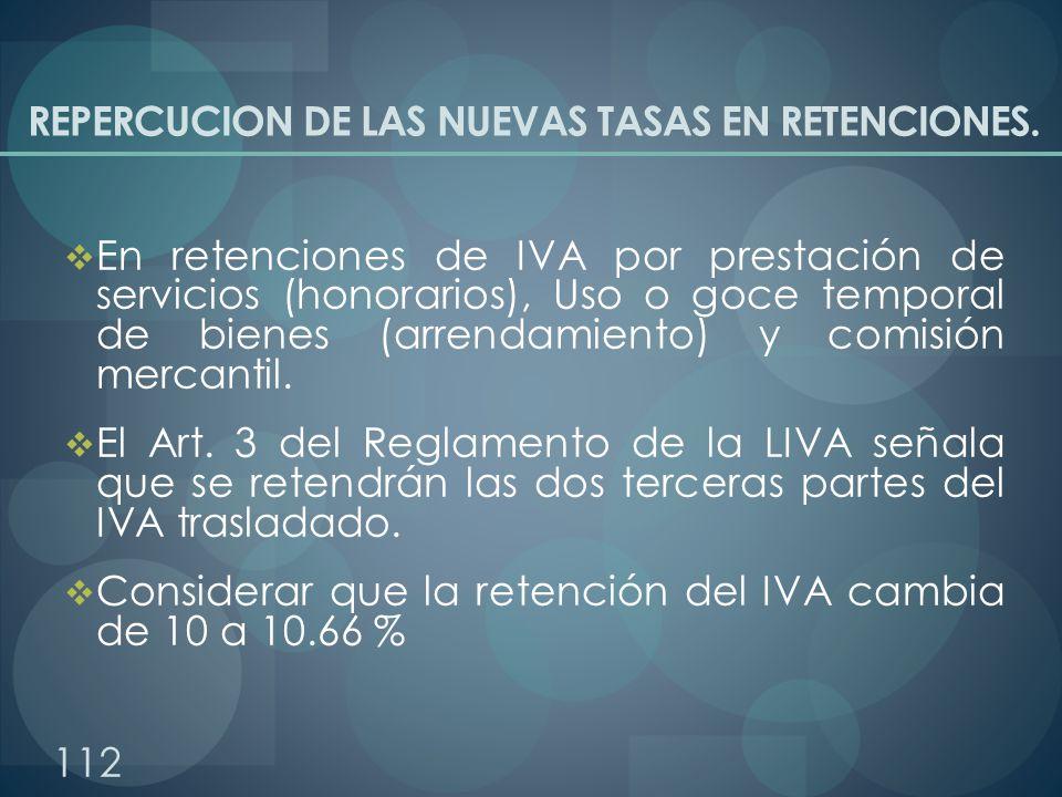 REPERCUCION DE LAS NUEVAS TASAS EN RETENCIONES. En retenciones de IVA por prestación de servicios (honorarios), Uso o goce temporal de bienes (arrenda