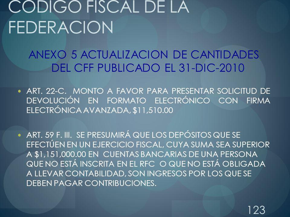 123 CODIGO FISCAL DE LA FEDERACION ANEXO 5 ACTUALIZACION DE CANTIDADES DEL CFF PUBLICADO EL 31-DIC-2010 ART. 22-C. MONTO A FAVOR PARA PRESENTAR SOLICI