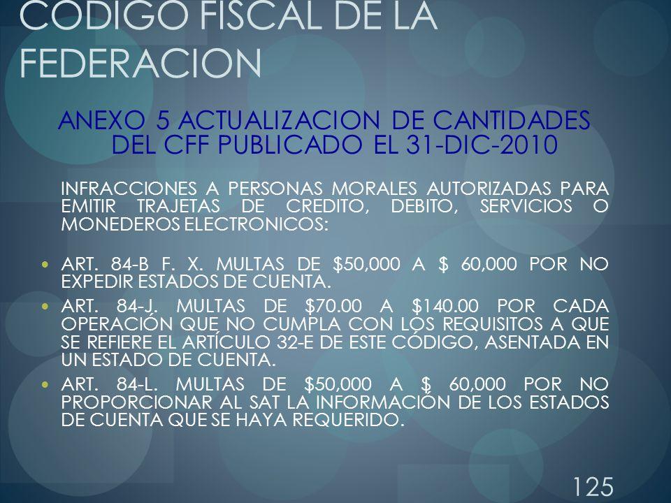 125 CODIGO FISCAL DE LA FEDERACION ANEXO 5 ACTUALIZACION DE CANTIDADES DEL CFF PUBLICADO EL 31-DIC-2010 INFRACCIONES A PERSONAS MORALES AUTORIZADAS PA