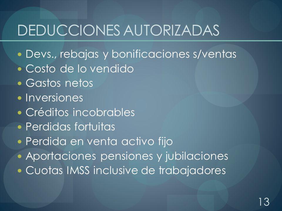 DEDUCCIONES AUTORIZADAS Devs., rebajas y bonificaciones s/ventas Costo de lo vendido Gastos netos Inversiones Créditos incobrables Perdidas fortuitas