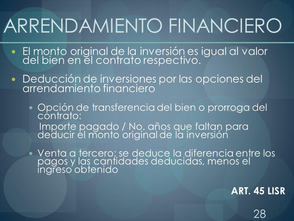 28 ARRENDAMIENTO FINANCIERO El monto original de la inversión es igual al valor del bien en el contrato respectivo. Deducción de inversiones por las o
