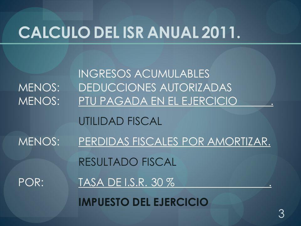 CALCULO DEL ISR ANUAL 2011. INGRESOS ACUMULABLES MENOS: DEDUCCIONES AUTORIZADAS MENOS: PTU PAGADA EN EL EJERCICIO. UTILIDAD FISCAL MENOS: PERDIDAS FIS