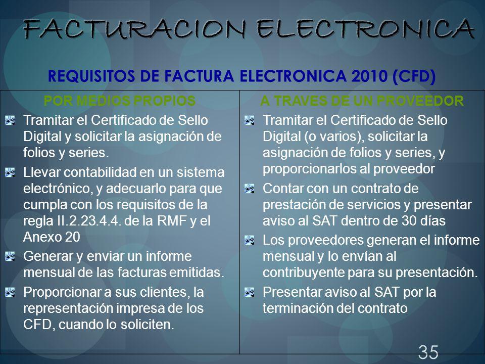 35 POR MEDIOS PROPIOS Tramitar el Certificado de Sello Digital y solicitar la asignación de folios y series. Llevar contabilidad en un sistema electró