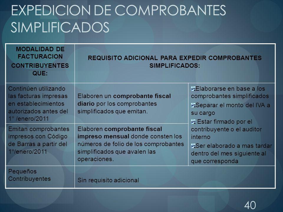 40 EXPEDICION DE COMPROBANTES SIMPLIFICADOS MODALIDAD DE FACTURACION CONTRIBUYENTES QUE: REQUISITO ADICIONAL PARA EXPEDIR COMPROBANTES SIMPLIFICADOS: