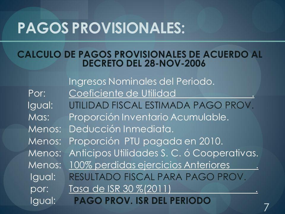 PAGOS PROVISIONALES: COEFICIENTE DE UTILIDAD No incluir el inventario acumulable en la utilidad o perdida fiscal que sirva de base para el cálculo del coeficiente.