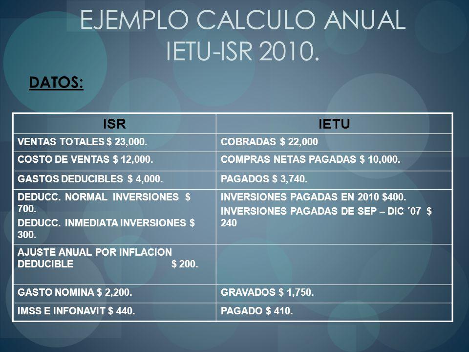 EJEMPLO CALCULO ANUAL IETU-ISR 2010. DATOS: ISRIETU VENTAS TOTALES $ 23,000.COBRADAS $ 22,000 COSTO DE VENTAS $ 12,000.COMPRAS NETAS PAGADAS $ 10,000.