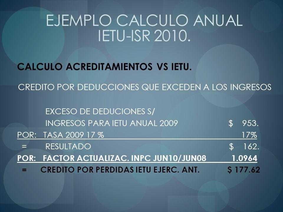 CALCULO ACREDITAMIENTOS VS IETU. CREDITO POR DEDUCCIONES QUE EXCEDEN A LOS INGRESOS EXCESO DE DEDUCIONES S/ INGRESOS PARA IETU ANUAL 2009 $ 953. POR: