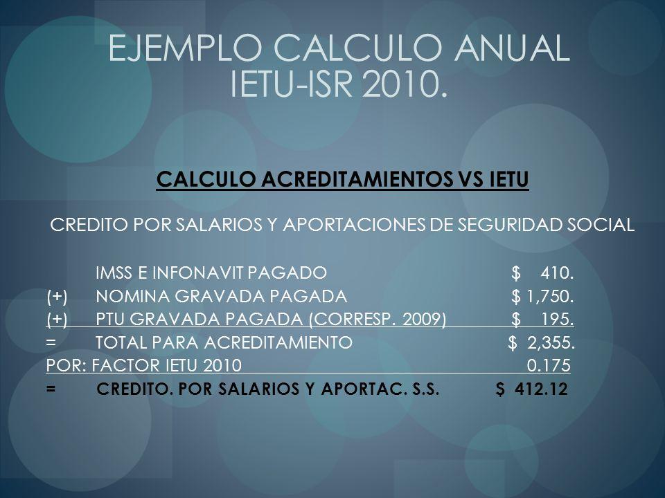 CALCULO ACREDITAMIENTOS VS IETU CREDITO POR SALARIOS Y APORTACIONES DE SEGURIDAD SOCIAL IMSS E INFONAVIT PAGADO $ 410. (+) NOMINA GRAVADA PAGADA $ 1,7