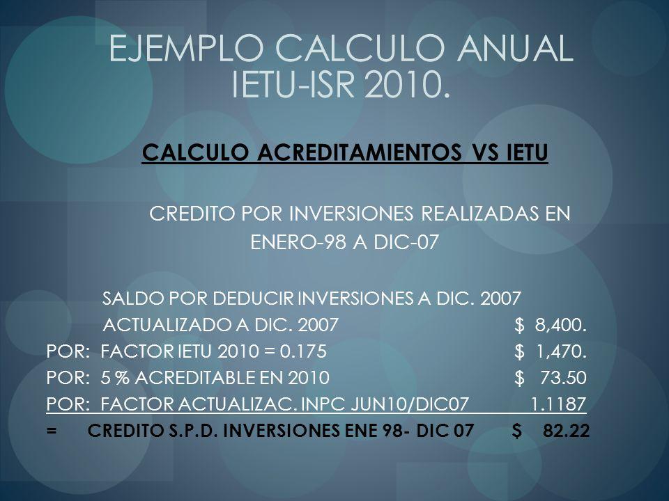 CALCULO ACREDITAMIENTOS VS IETU CREDITO POR INVERSIONES REALIZADAS EN ENERO-98 A DIC-07 SALDO POR DEDUCIR INVERSIONES A DIC. 2007 ACTUALIZADO A DIC. 2