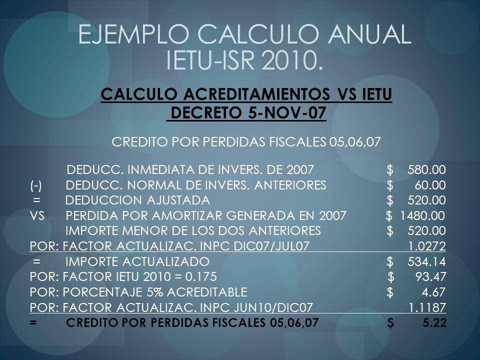 CALCULO ACREDITAMIENTOS VS IETU DECRETO 5-NOV-07 CREDITO POR PERDIDAS FISCALES 05,06,07 DEDUCC. INMEDIATA DE INVERS. DE 2007 $ 580.00 (-) DEDUCC. NORM