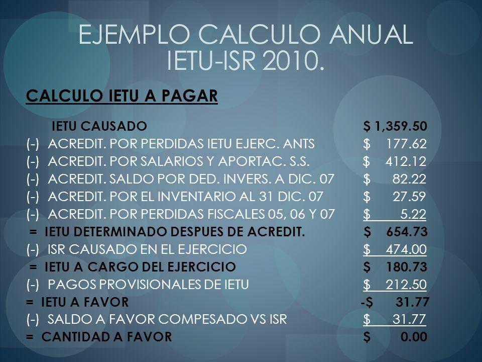CALCULO IETU A PAGAR IETU CAUSADO $ 1,359.50 (-) ACREDIT. POR PERDIDAS IETU EJERC. ANTS$ 177.62 (-) ACREDIT. POR SALARIOS Y APORTAC. S.S. $ 412.12 (-)