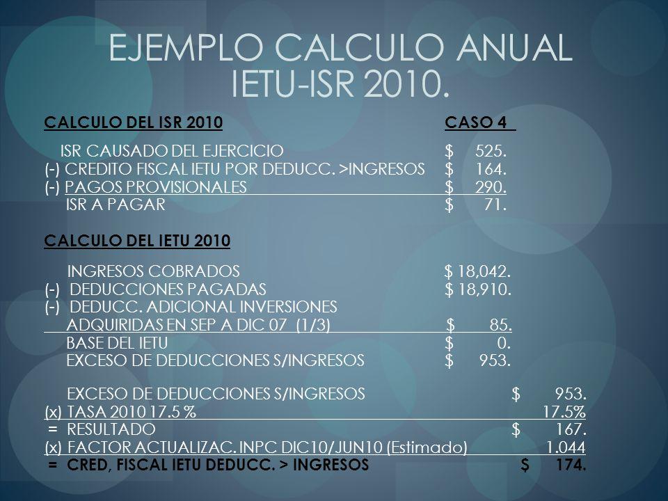 CALCULO DEL ISR 2010CASO 4 ISR CAUSADO DEL EJERCICIO$ 525. (-) CREDITO FISCAL IETU POR DEDUCC. >INGRESOS $ 164. (-) PAGOS PROVISIONALES $ 290. ISR A P