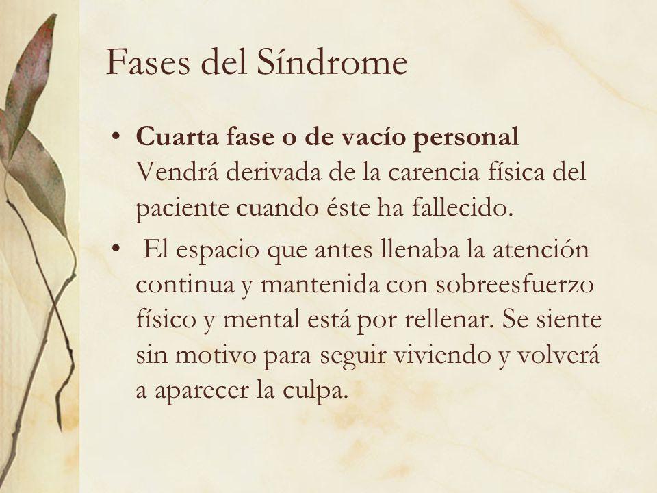Fases del Síndrome Cuarta fase o de vacío personal Vendrá derivada de la carencia física del paciente cuando éste ha fallecido. El espacio que antes l