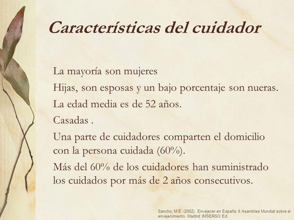 Características del cuidador La mayoría son mujeres Hijas, son esposas y un bajo porcentaje son nueras. La edad media es de 52 años. Casadas. Una part