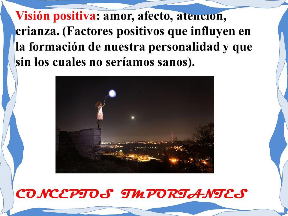 Visión positiva: amor, afecto, atención, crianza. (Factores positivos que influyen en la formación de nuestra personalidad y que sin los cuales no ser