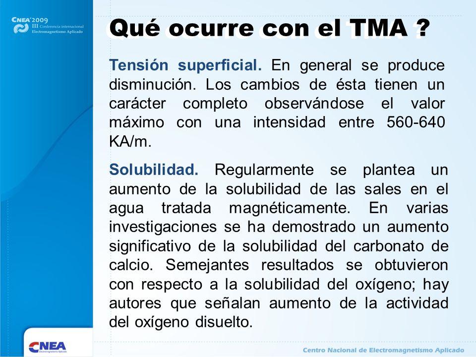 Qué ocurre con el TMA ? Tensión superficial. En general se produce disminución. Los cambios de ésta tienen un carácter completo observándose el valor