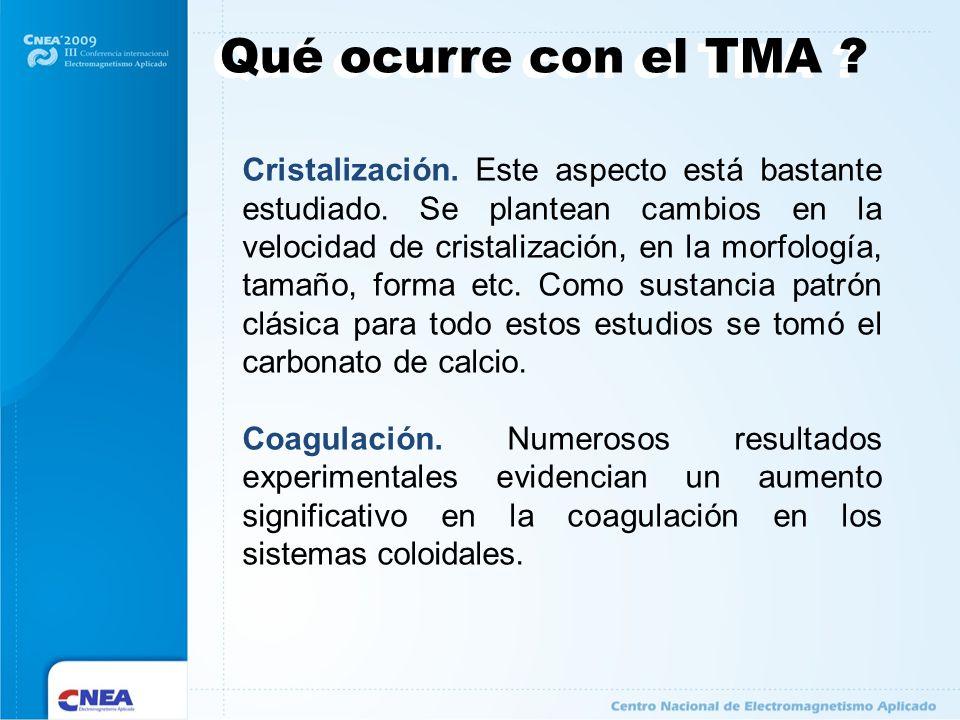 Qué ocurre con el TMA ? Cristalización. Este aspecto está bastante estudiado. Se plantean cambios en la velocidad de cristalización, en la morfología,