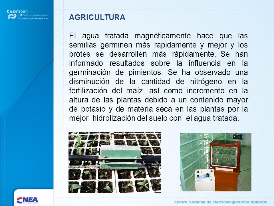AGRICULTURA El agua tratada magnéticamente hace que las semillas germinen más rápidamente y mejor y los brotes se desarrollen más rápidamente. Se han