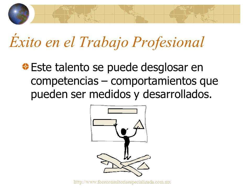 http://www.foceconsultoriaespecializada.com.mx Éxito en el Trabajo Profesional Se requiere del talento necesario para tener éxito en determinados pues