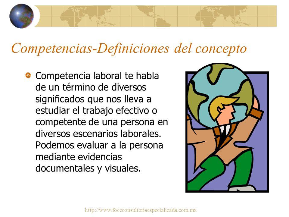 http://www.foceconsultoriaespecializada.com.mx Competencias-Definiciones del concepto Características de personalidad expresadas en comportamientos qu