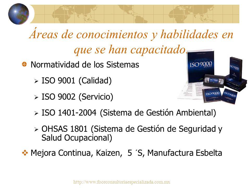 http://www.foceconsultoriaespecializada.com.mx Áreas de conocimientos y habilidades en que se han capacitado Seguridad y Medio Ambiente Reglamento Fed