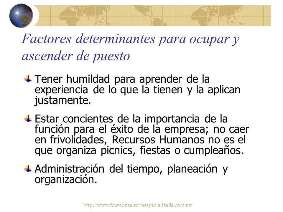 http://www.foceconsultoriaespecializada.com.mx Factores determinantes para ocupar y ascender de puesto Ser mediador entre el factor humano; los emplea