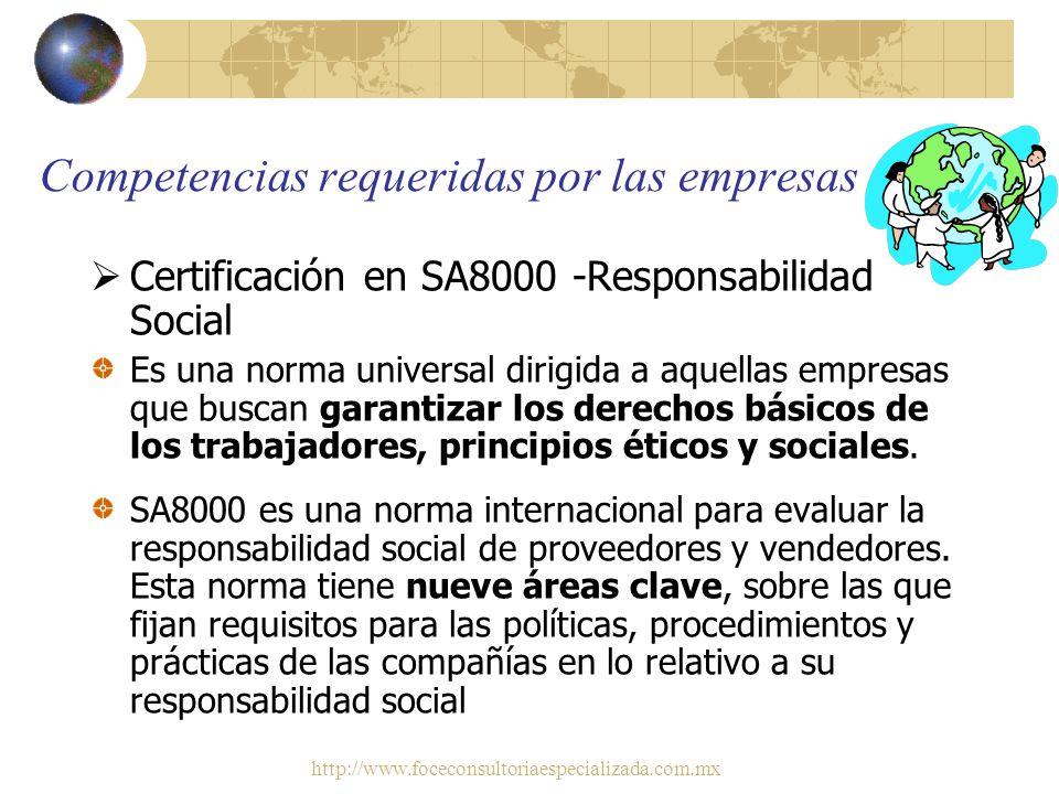 http://www.foceconsultoriaespecializada.com.mx Recomendaciones adicionales a egresados en relación a las competencias necesarias para ingresar y desar