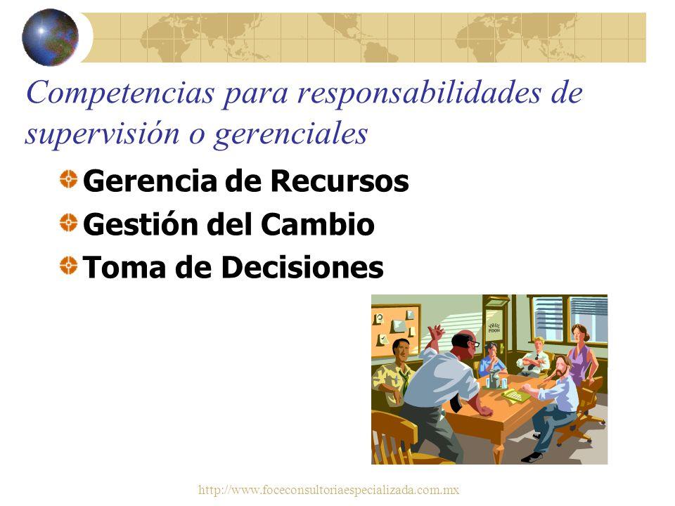 http://www.foceconsultoriaespecializada.com.mx Competencias personales Productividad y Rendimiento Autoevaluación precisa Comunicación