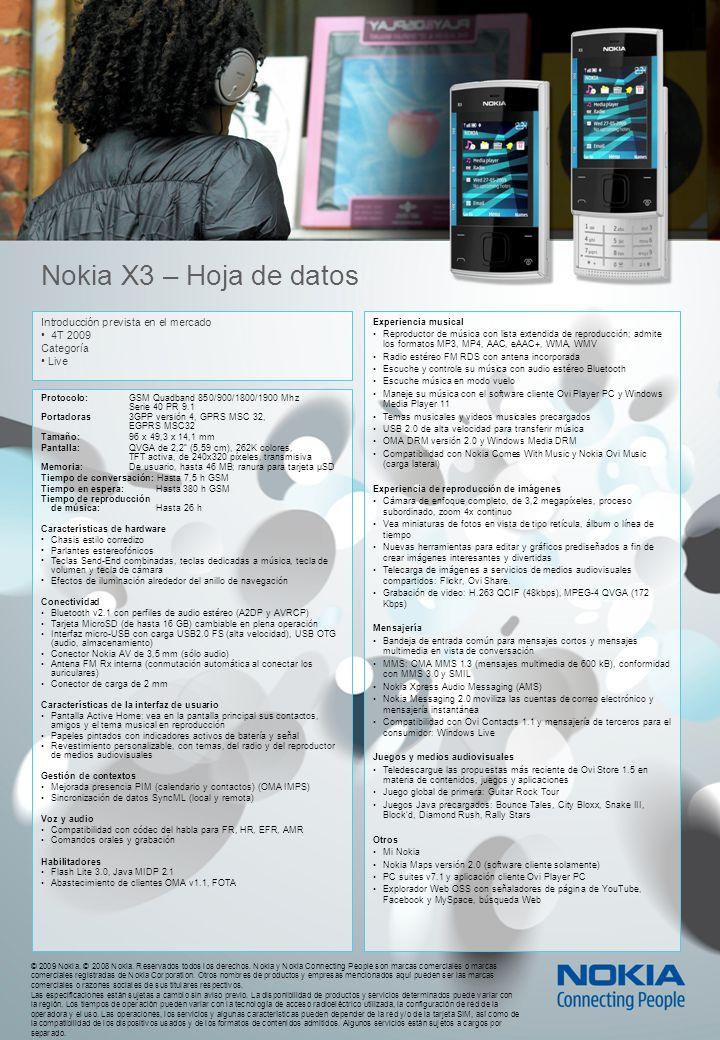 © 2009 Nokia. © 2008 Nokia. Reservados todos los derechos.