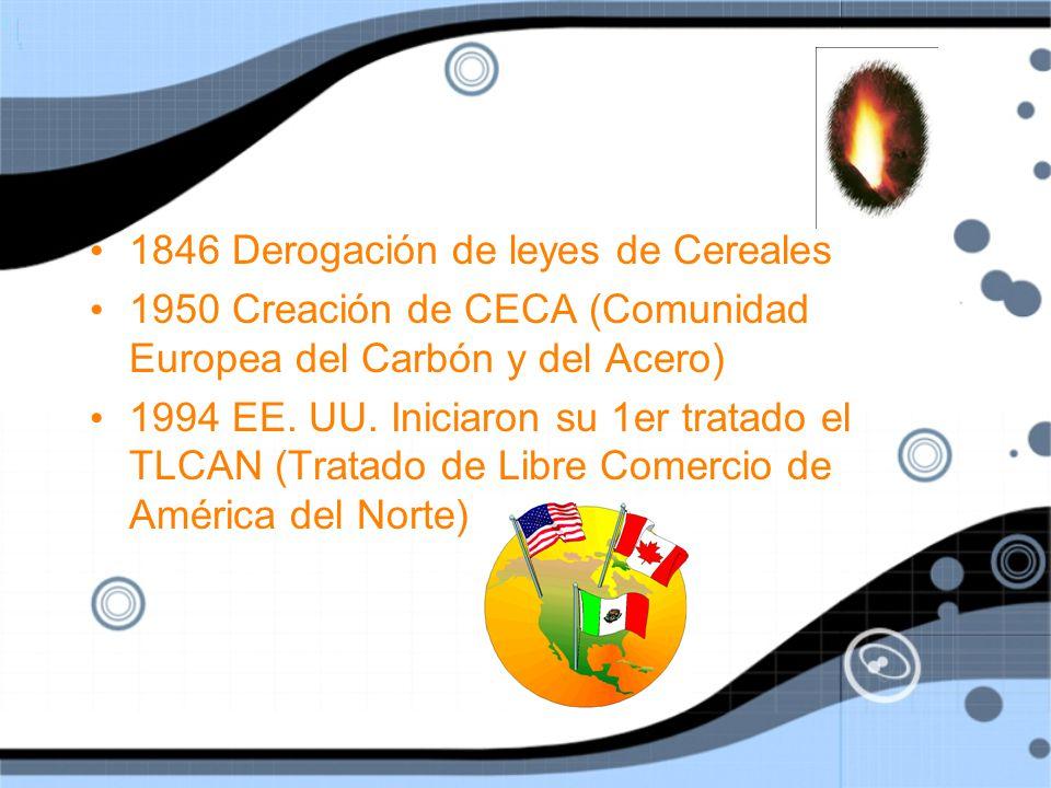 1846 Derogación de leyes de Cereales 1950 Creación de CECA (Comunidad Europea del Carbón y del Acero) 1994 EE.