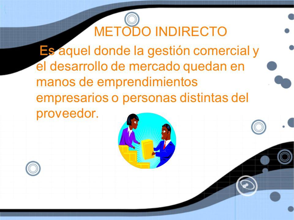 METODO INDIRECTO Es aquel donde la gestión comercial y el desarrollo de mercado quedan en manos de emprendimientos empresarios o personas distintas del proveedor.