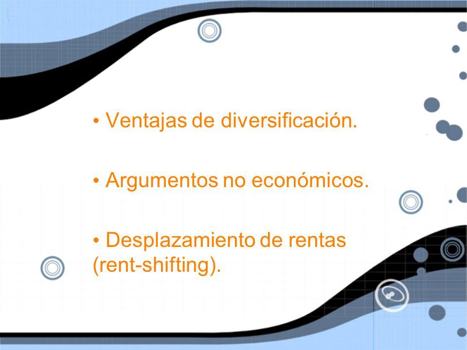 Ventajas de diversificación.Argumentos no económicos.
