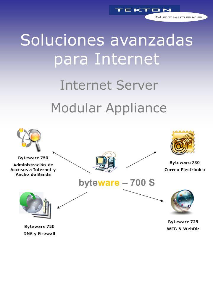 Soluciones avanzadas para Internet Byteware 750 Administración de Accesos a Internet y Ancho de Banda Byteware 725 WEB & WebDir Byteware 730 Correo El