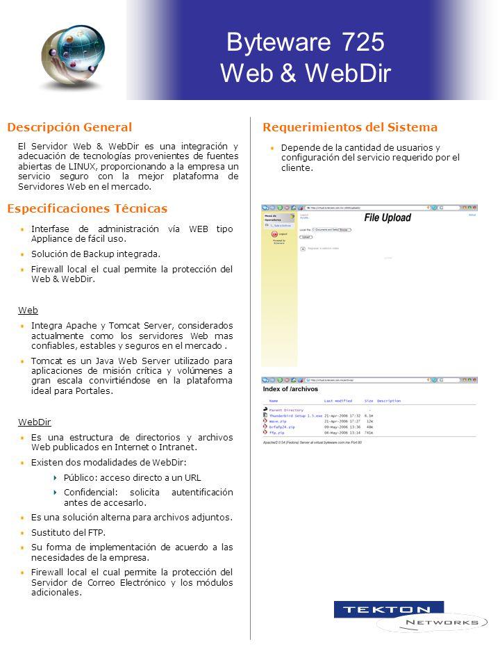 Especificaciones Técnicas El Servidor Web & WebDir es una integración y adecuación de tecnologías provenientes de fuentes abiertas de LINUX, proporcio