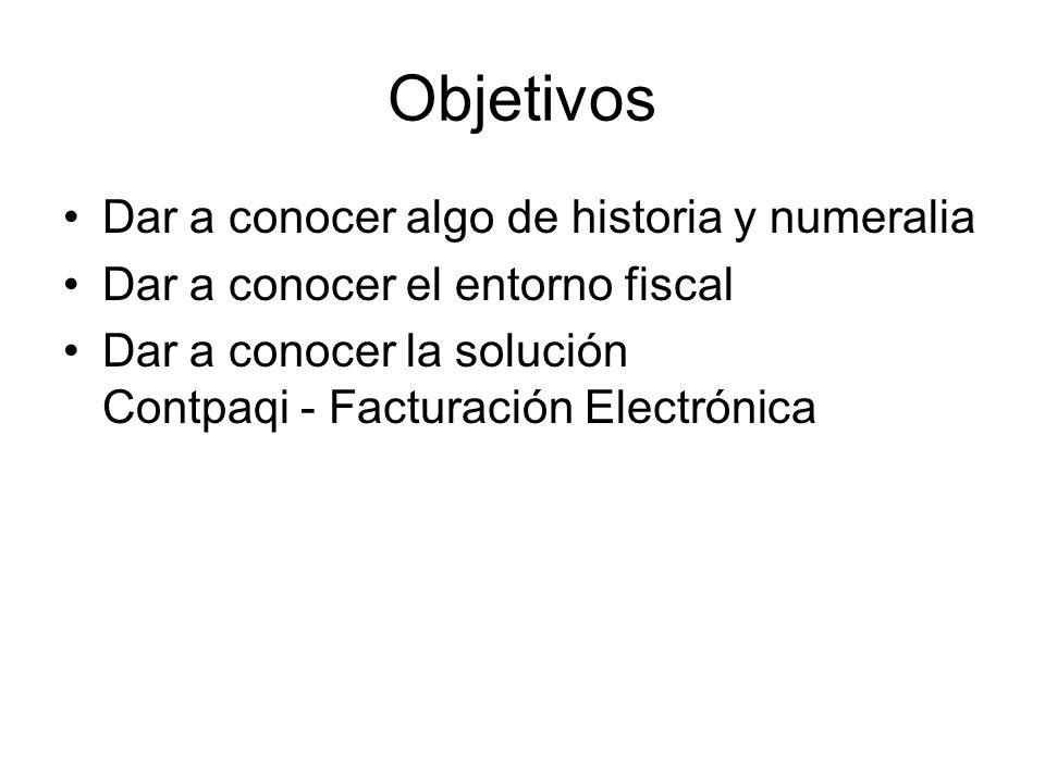 Objetivos Dar a conocer algo de historia y numeralia Dar a conocer el entorno fiscal Dar a conocer la solución Contpaqi - Facturación Electrónica