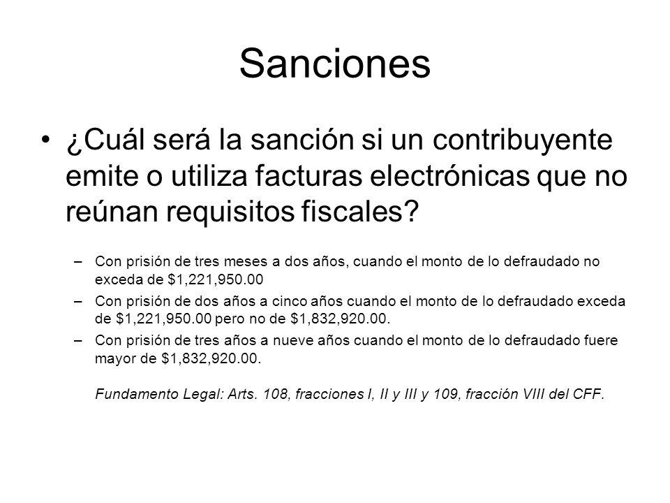 Sanciones ¿Cuál será la sanción si un contribuyente emite o utiliza facturas electrónicas que no reúnan requisitos fiscales? –Con prisión de tres mese