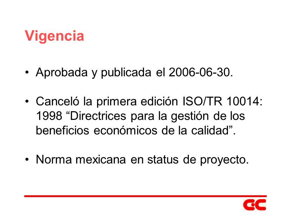 Vigencia Aprobada y publicada el 2006-06-30. Canceló la primera edición ISO/TR 10014: 1998 Directrices para la gestión de los beneficios económicos de