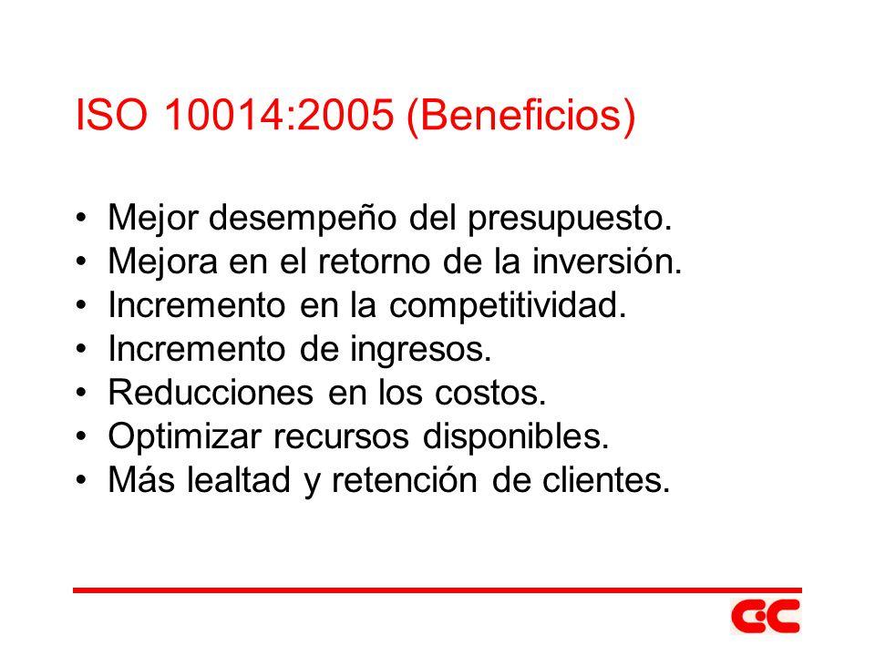 ISO 10014:2005 (Beneficios) Mejor desempeño del presupuesto. Mejora en el retorno de la inversión. Incremento en la competitividad. Incremento de ingr