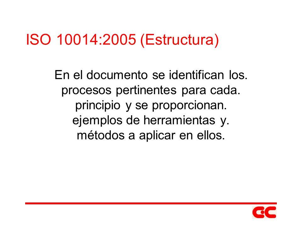 ISO 10014:2005 (Estructura) En el documento se identifican los. procesos pertinentes para cada. principio y se proporcionan. ejemplos de herramientas